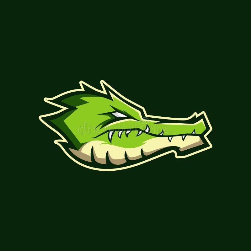 Modern yrkesmässig logo för sportlag Alligatormaskot Krokodil vektorsymbol på en mörk bakgrund vektor illustrationer