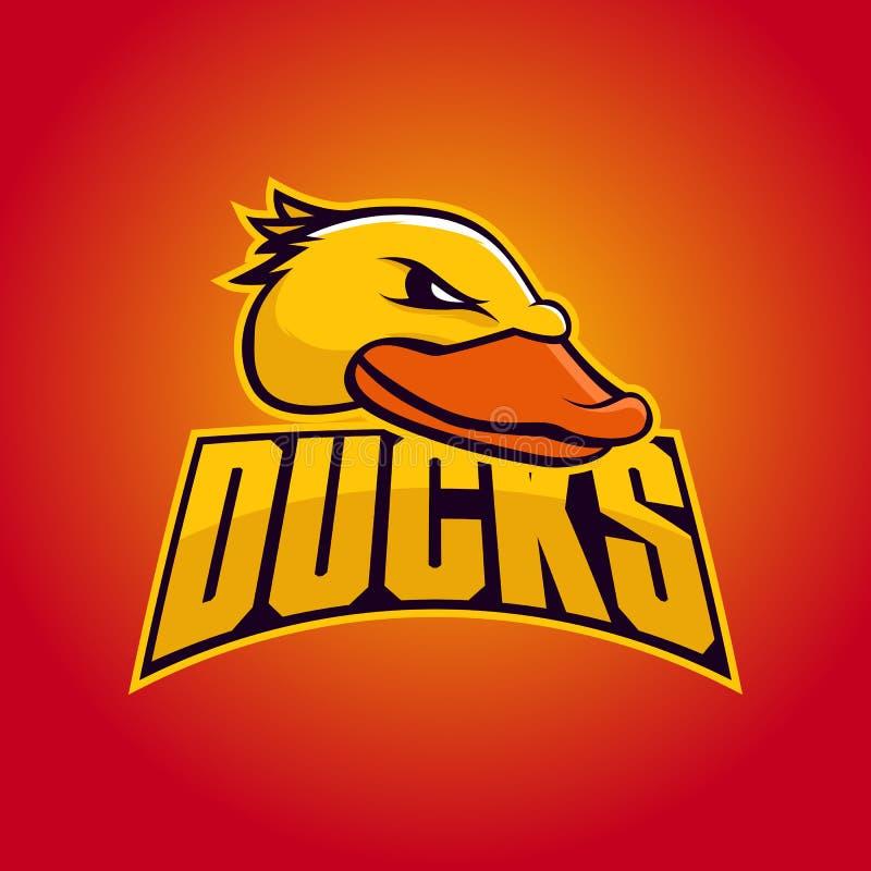 Modern yrkesmässig logo för sportlag Duck Mascot Änder vektorsymbol på en mörk bakgrund stock illustrationer