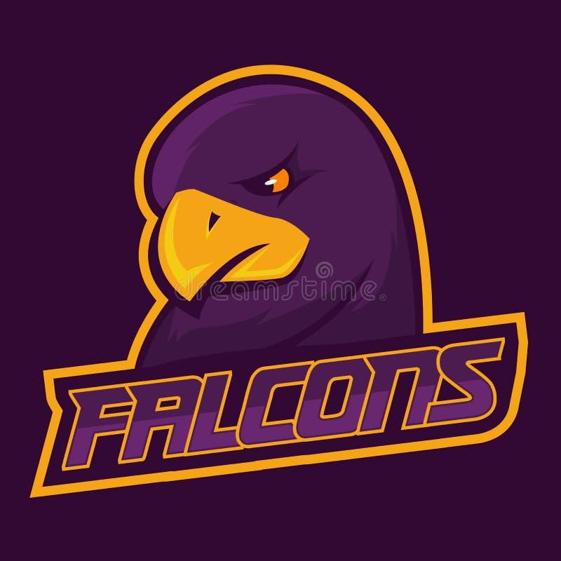 Modern yrkesmässig logo för sportlag Falkmaskot Falcons vektorsymbol på en mörk bakgrund royaltyfri illustrationer