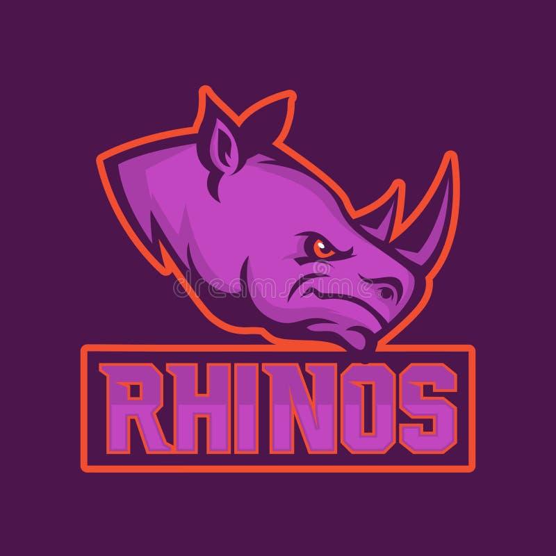 Modern yrkesmässig logo för sportlag Noshörningmaskot Noshörningar vektorsymbol på en mörk bakgrund stock illustrationer
