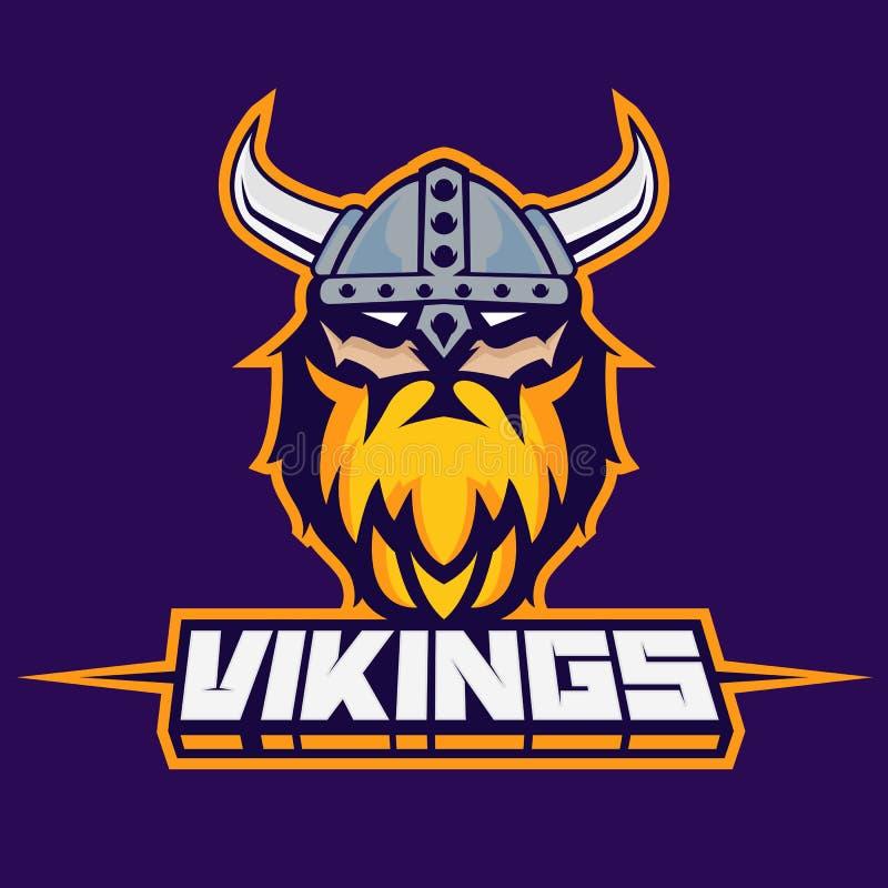Modern yrkesmässig logo för sportlag Viking maskot Vikingar vektorsymbol på en mörk bakgrund stock illustrationer