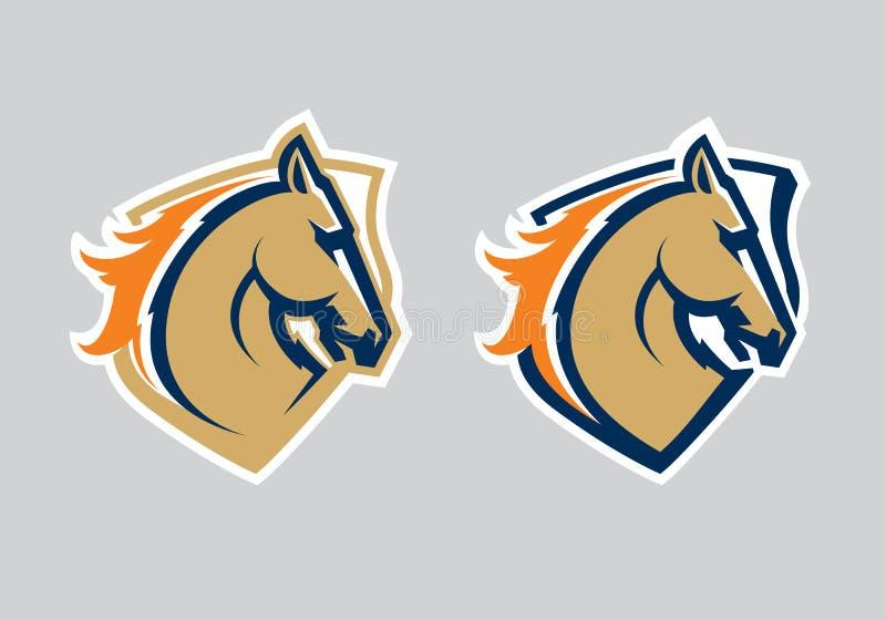 Modern yrkesmässig logo med mustanget för ett sportlag royaltyfri illustrationer
