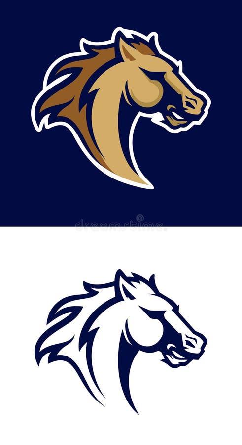 Modern yrkesmässig logo med mustanget för ett sportlag stock illustrationer