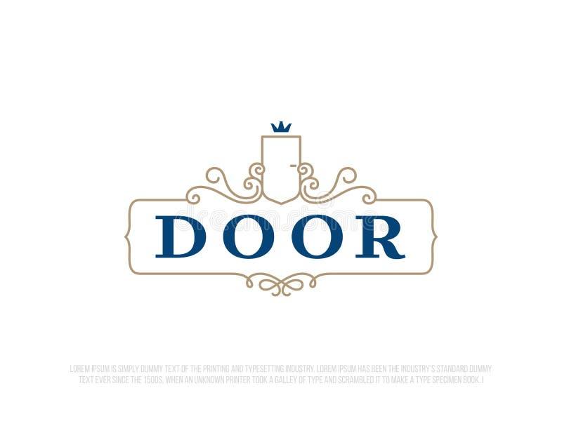Modern yrkesmässig logodörr i guld- och blått tema royaltyfri illustrationer