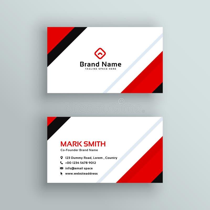 Modern yrkesmässig röd affärskortdesign royaltyfri illustrationer