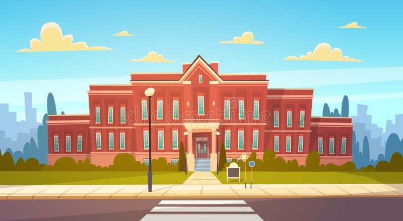 Modern yttersida för skolabyggnad med övergångsställevälkomnande tillbaka till utbildningsbegreppet royaltyfri illustrationer