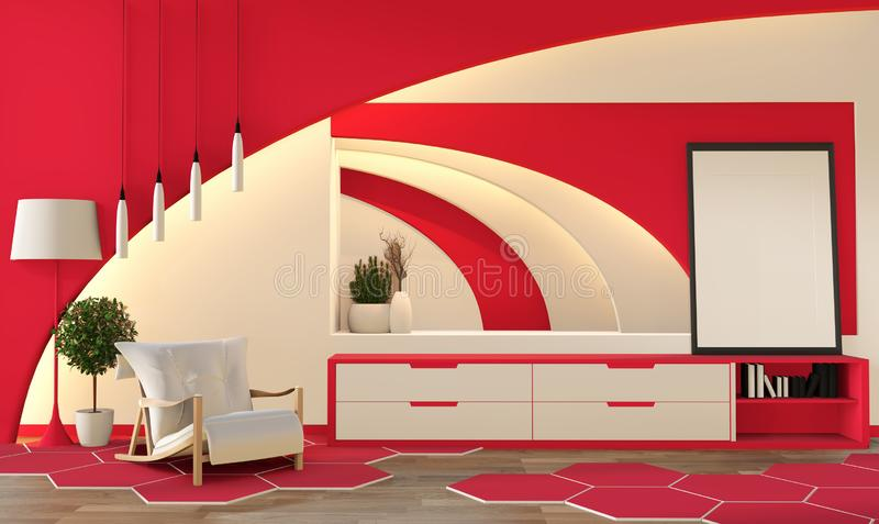 Modern zen style coral color living room. Peaceful and serene living room. decoration with oriental object and hidden light.3D stock illustration