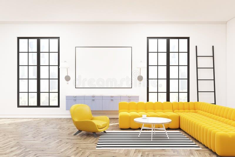 Modern zitkamerbinnenland, affiche, leunstoelen vector illustratie