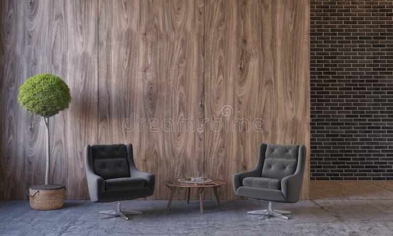 Modern zolderbinnenland met meubilair, zitkamerstoelen, installatie, lijst, houten muurpanelen, bakstenen muur, concrete vloer stock illustratie
