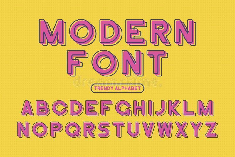 Modern zonder serif doopvont Rond gemaakt ontworpen alfabet met compensatieeffect Gestileerde kleurrijke lettersoort Vector stock illustratie