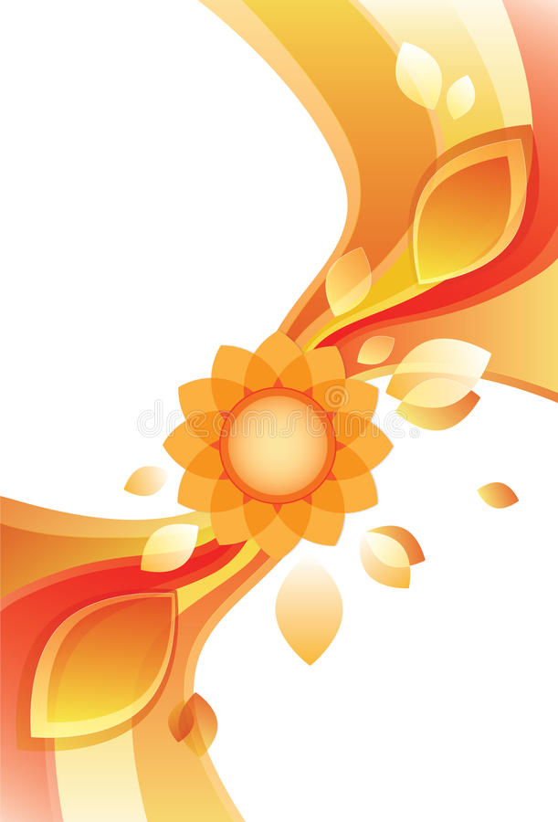 Modern zonnebloemontwerp in rijke sinaasappel stock foto's