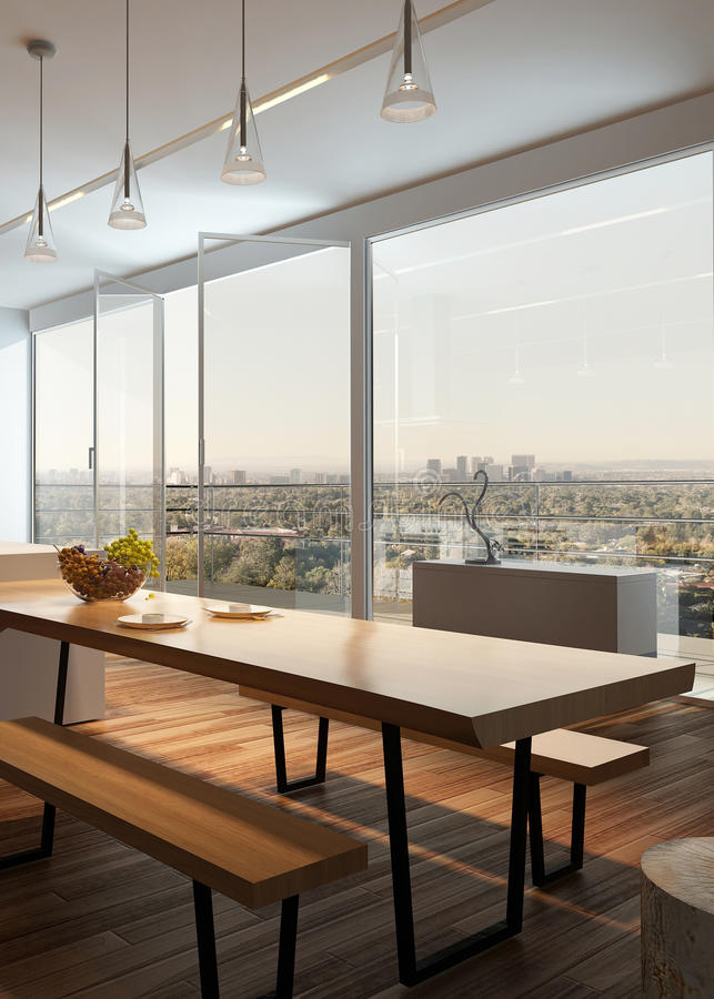 Modern zonnig keukenbinnenland met houten vloer royalty-vrije stock afbeelding