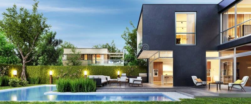 Modern zwart huis met terras en pool De mening van de avond Binnenland en buitenkant stock illustratie