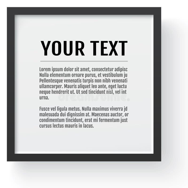 Modern zwart kader, model Plaats voor tekst, foto, gift of anderen Vector illustratie stock illustratie