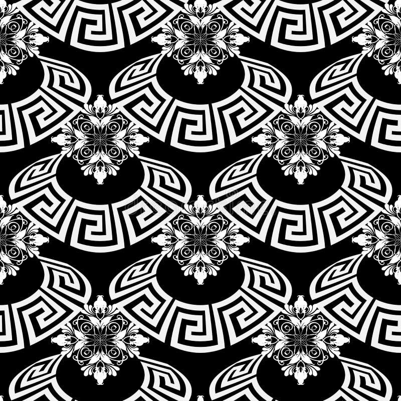 Modern zwart-wit Grieks vector naadloos patroon Sier bloemenachtergrond Herhaal abstracte achtergrond De wijnoogst betegelde het  vector illustratie