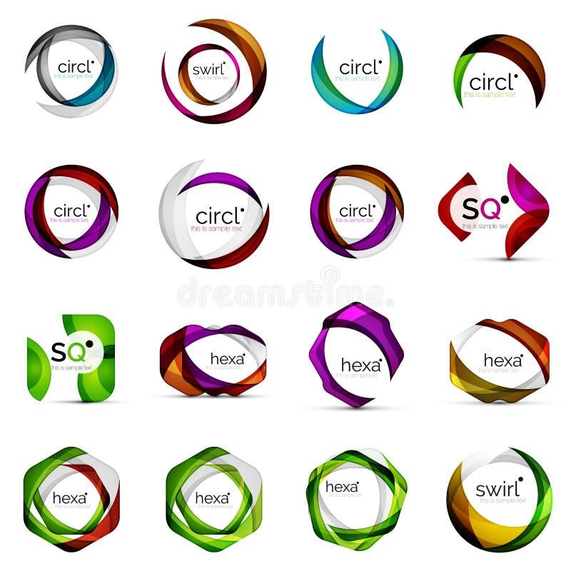 Moderna överlappande geometriska logoer för former vektor illustrationer