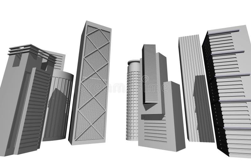 moderna 3d framför skyskrapor stock illustrationer
