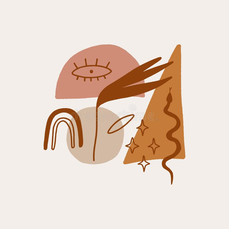 Moderna abstrakt begreppformer Kristaller, ormar och kaktusväxter white f?r sk?ld f?r bakgrunds?gonprovidence Astrologi, alkemi,  vektor illustrationer