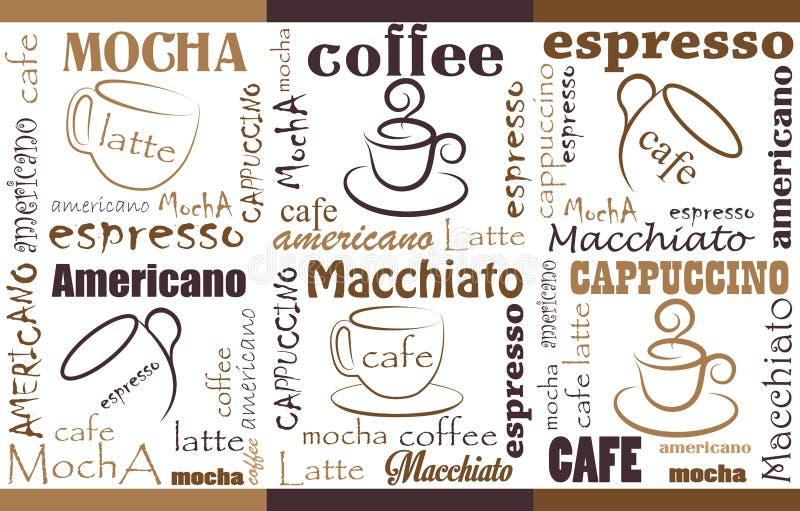 Moderna affischer med kaffebakgrund royaltyfri illustrationer