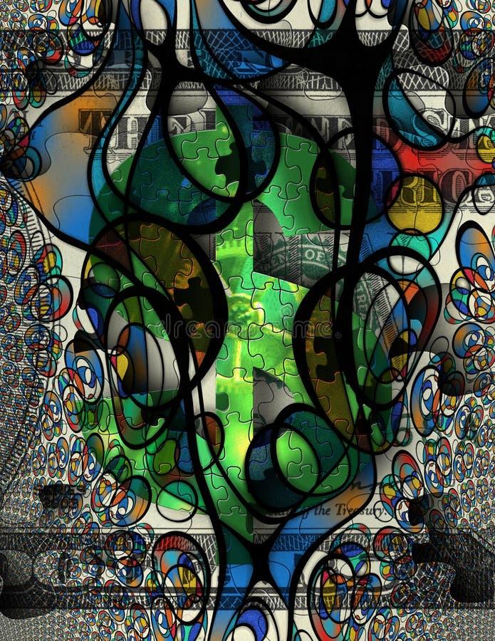 Moderna Art Money Abstract royaltyfri illustrationer