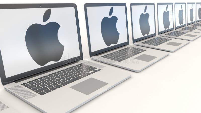 Moderna bärbara datorer med Apple Inc logo modernt kontor för byggnadsingång Begreppsmässig ledare 3D för datateknik royaltyfri illustrationer