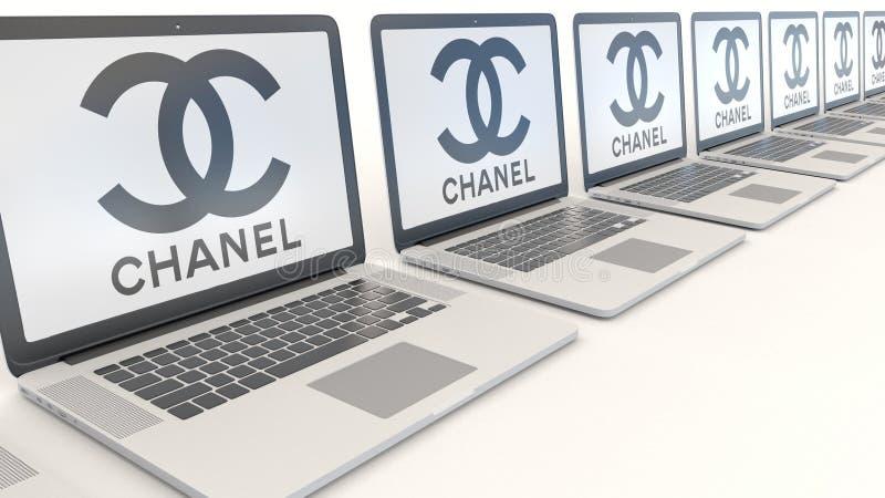 Moderna bärbara datorer med den Chanel logoen Tolkning för ledare 3D för datateknik begreppsmässig stock illustrationer
