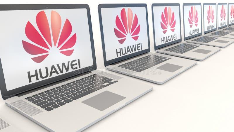 Moderna bärbara datorer med den Huawei logoen Tolkning för ledare 3D för datateknik begreppsmässig vektor illustrationer
