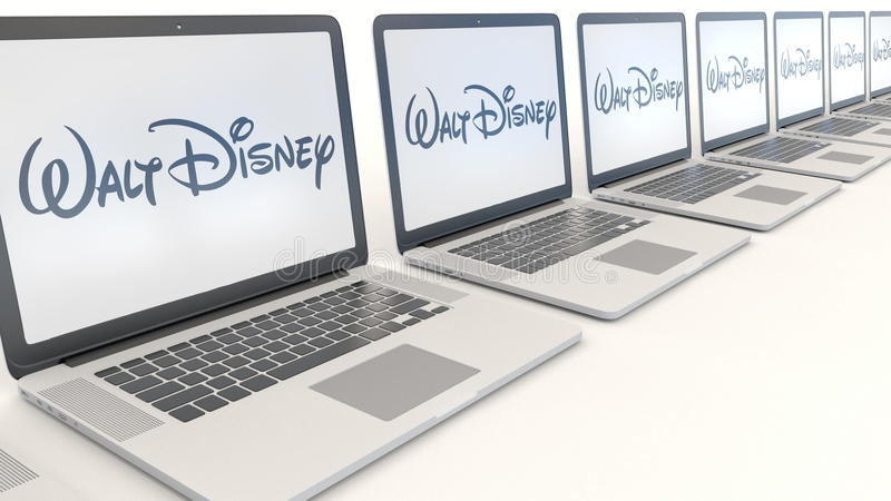 Moderna bärbara datorer med den Walt Disney Pictures logoen Tolkning för ledare 3D för datateknik begreppsmässig royaltyfri illustrationer