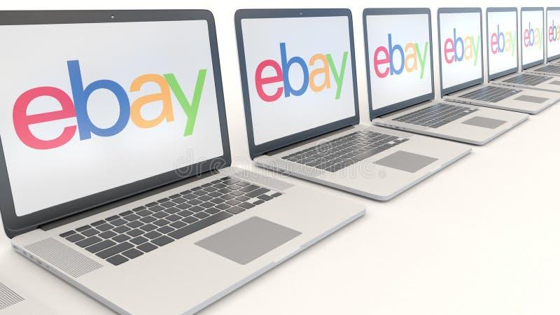 Moderna bärbara datorer med eBay Inc logo Tolkning för ledare 3D för datateknik begreppsmässig royaltyfri illustrationer