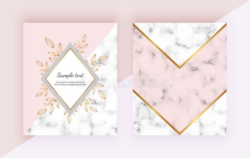 Moderna bakgrunder med blommor, marmorerar den geometriska designen, guld- linjer, triangulära former Mallar för inbjudan, bröllo royaltyfri illustrationer