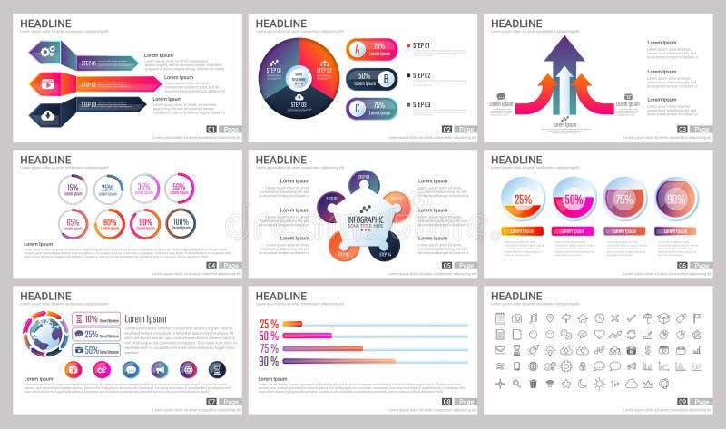 Moderna beståndsdelar av infographicsen för presentationsmallar för baner royaltyfri illustrationer