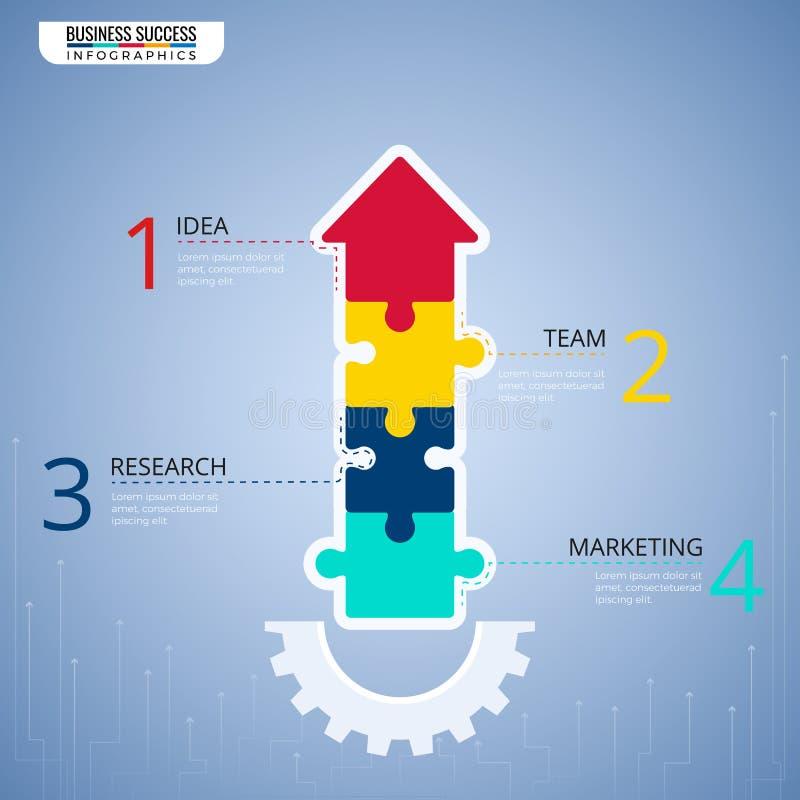 Moderna beståndsdelar för pusselpilinfographics Moment till den infographic mallen för framgångaffärsidé kan användas för workflo stock illustrationer