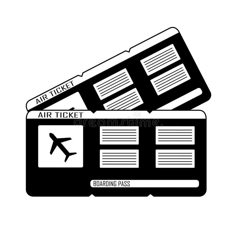 Moderna biljetter för passerande för flygbolaglopplogi två vektor vektor illustrationer