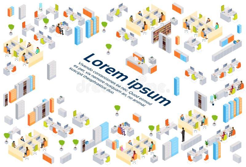 Moderna Businesspeople för kontorsbyggnad för affärsmitten som arbetar den inre kopian, gör mellanslag isometrisk 3d royaltyfri illustrationer