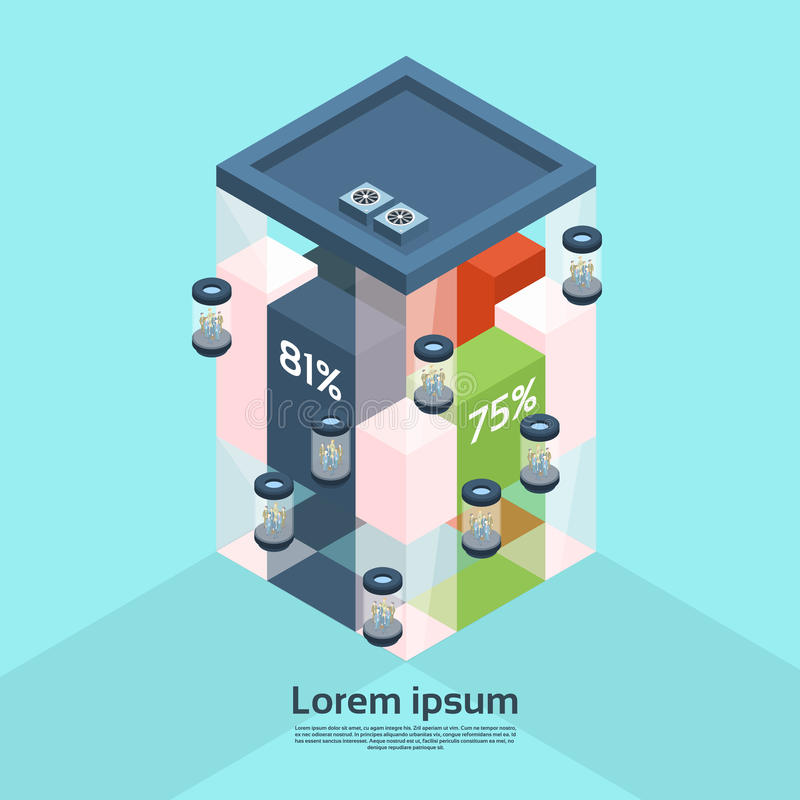 Moderna Businesspeople för stång för diagram för finans för hiss för kontorsbyggnad för affärsmitt som arbetar den isometriska in vektor illustrationer