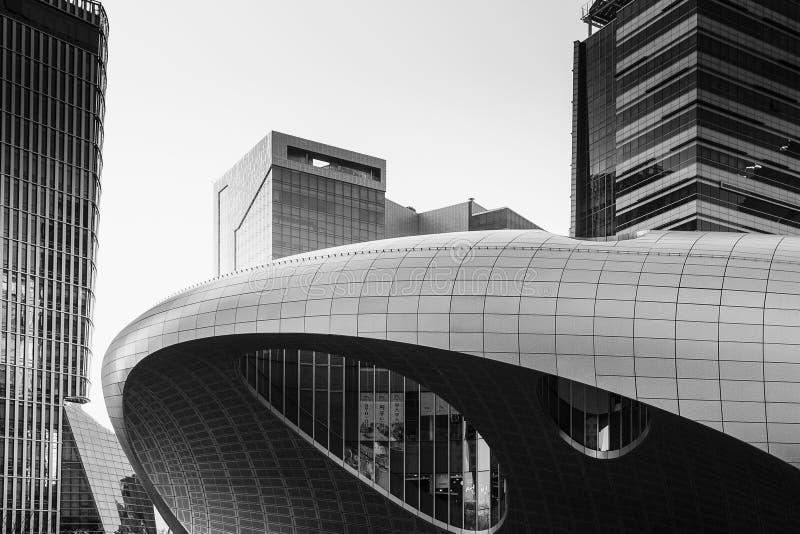Moderna byggnader i Seoul, Sydkorea royaltyfri bild