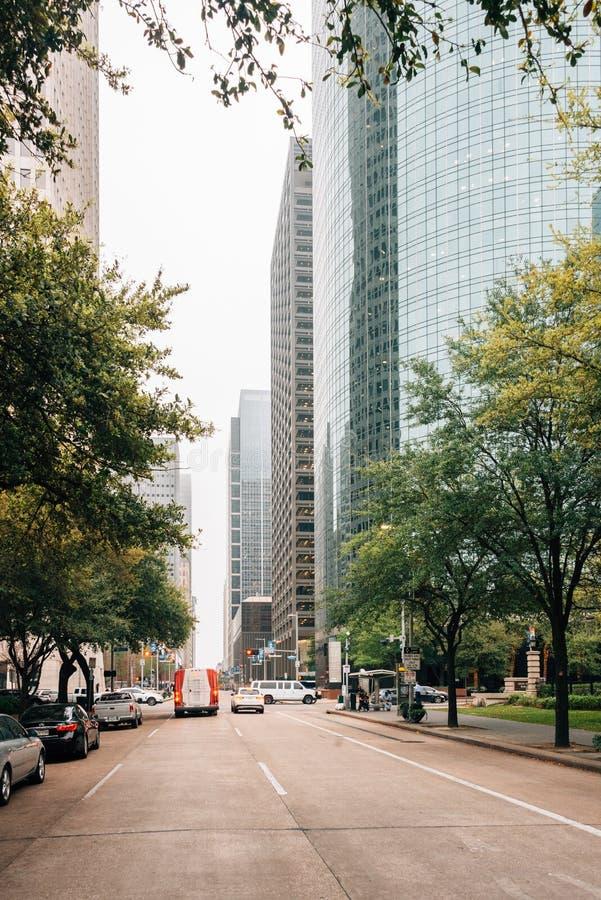 Moderna byggnader längs den McKinney gatan i i stadens centrum Houston, Texas royaltyfri fotografi