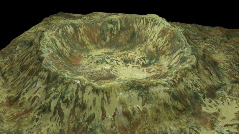 Moderna 3d framför krater med snö och grön yttersida, denna i stycke av jord, den dator frambragda bakgrunden royaltyfri illustrationer