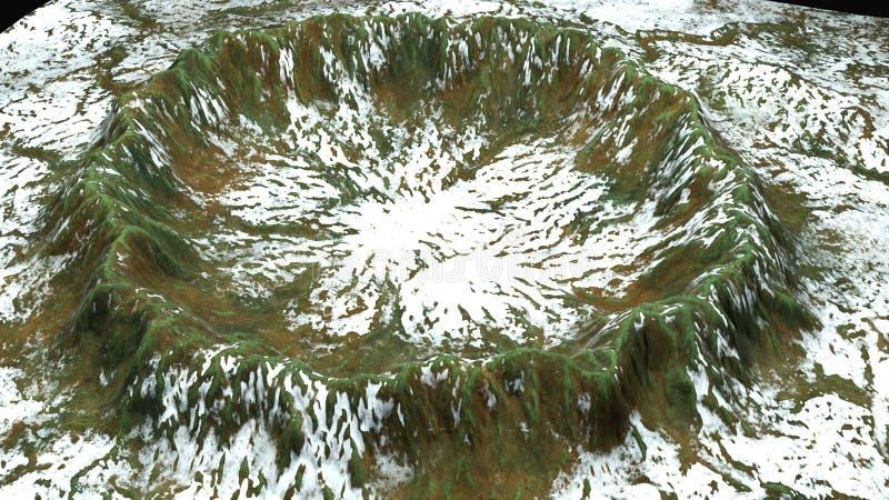 Moderna 3d framför krater med snö och grön yttersida, denna i stycke av jord, den dator frambragda bakgrunden vektor illustrationer