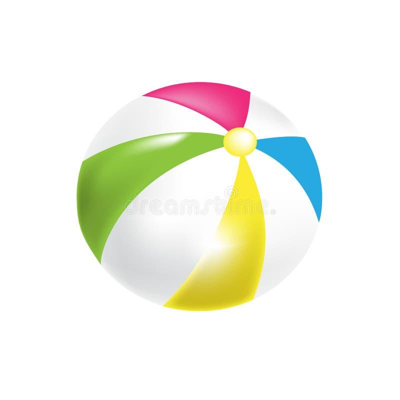 Moderna färgrika leksaker för barn` s Uppblåsbar boll för härlig strand royaltyfri illustrationer
