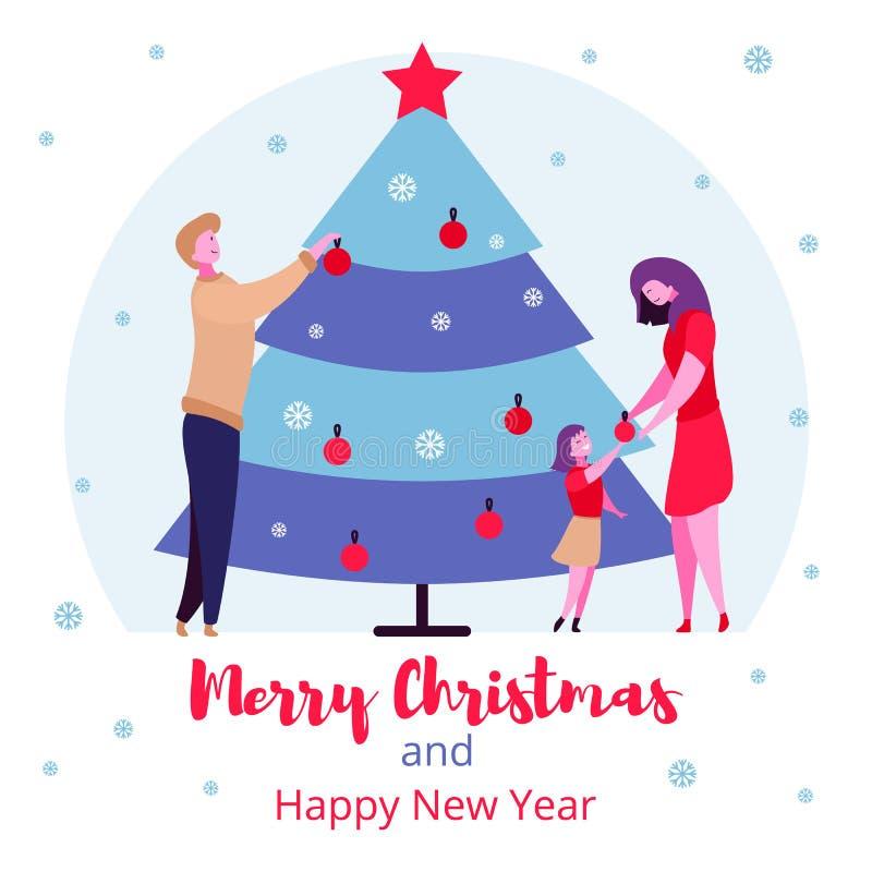 Moderna ferier för vinter för familj för tecknad filmlägenhettecken begrepp för lyckligt nytt år för glad jul vektor illustrationer