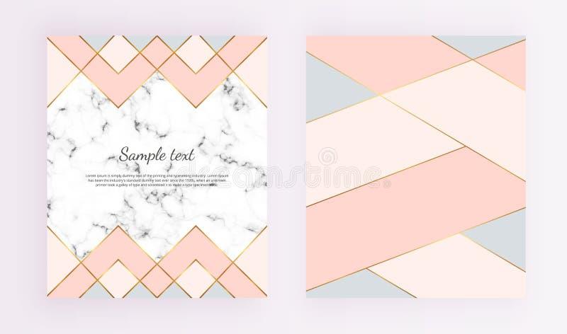 Moderna geometriska designer med marmortextur, guld fodrar, rosa färger, blåttfärgbakgrund Moderiktig mall för designbanret, kort royaltyfri illustrationer
