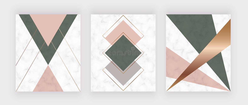Moderna geometriska marmorerar design med guld- linjer, rosa och gröna trianglar och sexhörningsformer Modebakgrund för banret, g royaltyfri illustrationer