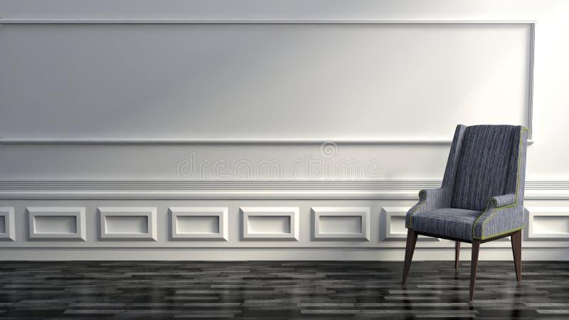 Moderna Grey Chair i exklusivt lyxhem med vita väggar stock illustrationer