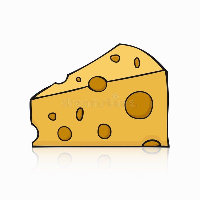 Moderna händer för vektor som drar ost på vit stock illustrationer