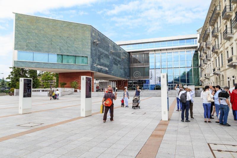 Moderna Hall av konst och kultur i Lugano, Schweiz royaltyfri bild