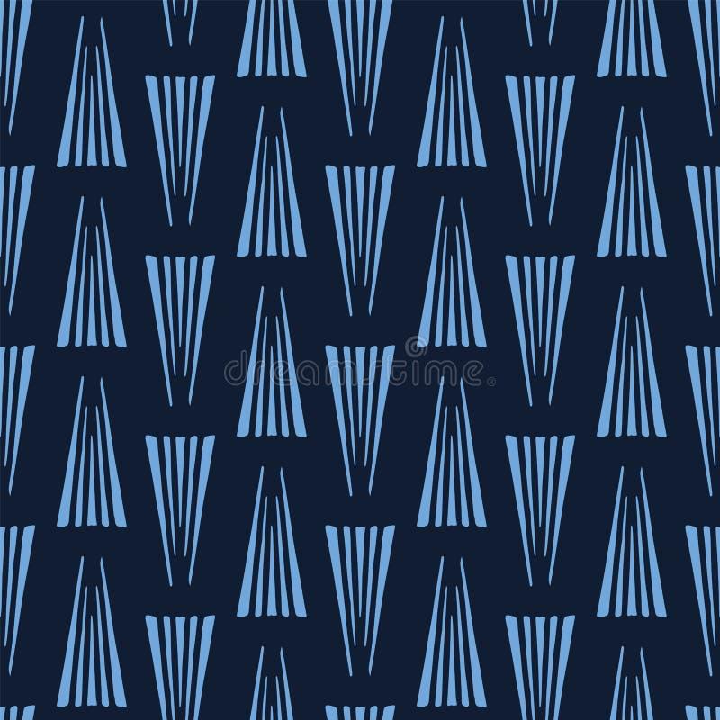 Moderna indigoblå blåa utdragna trianglar för geometrisk hand Upprepa abstrakt bakgrund Dekorativ monokrom geo moderiktigt vektor illustrationer