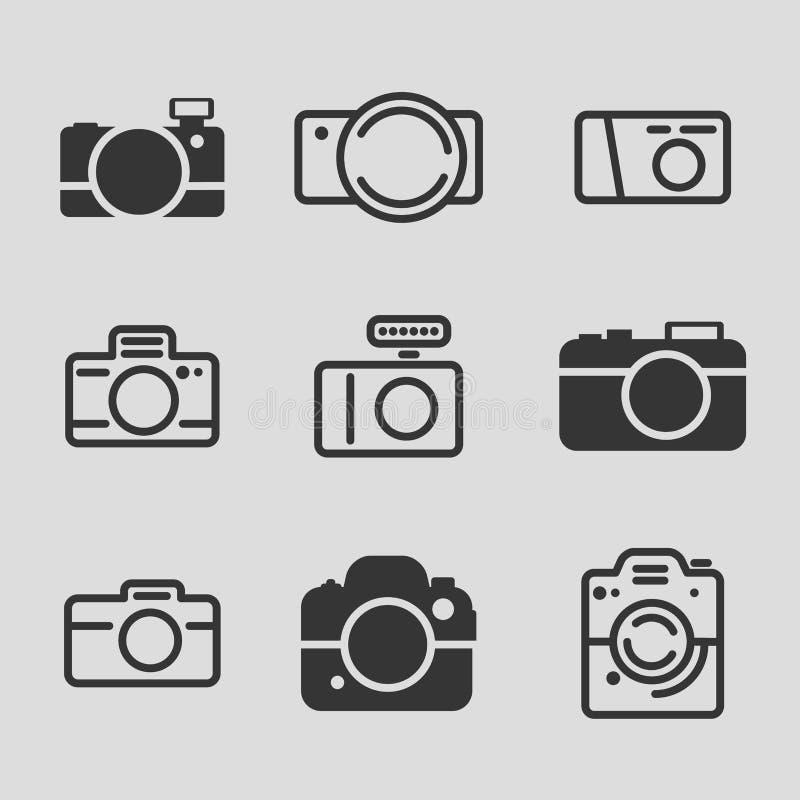 Moderna kamerasymboler vektor illustrationer