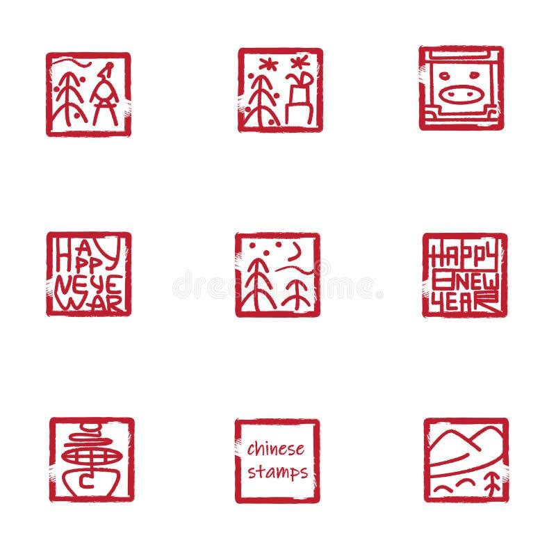 Moderna kinesstämplar stock illustrationer