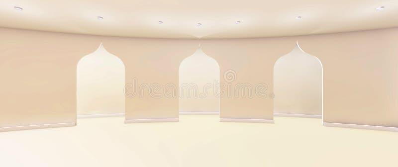Moderna konster och gallerirengöring och dörr med den vita väggen stock illustrationer